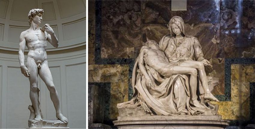 Il David a Firenze e la Pietà a Roma.