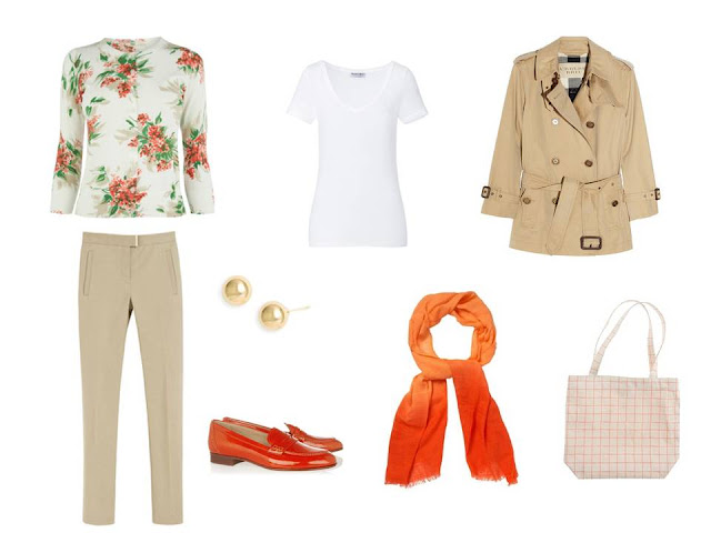 a travel outfit based on a cream and orange floral cardigan, with orange shoes and an orange scarf