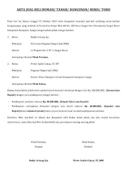 Contoh Surat Perjanjian Jual Beli Rumah Sederhana