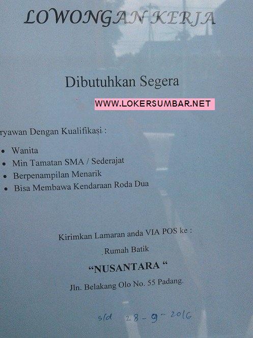Lowongan Kerja di Padang – Rumah Batik Nusantara – Karyawan (Penutupan 28 Sept.2016)