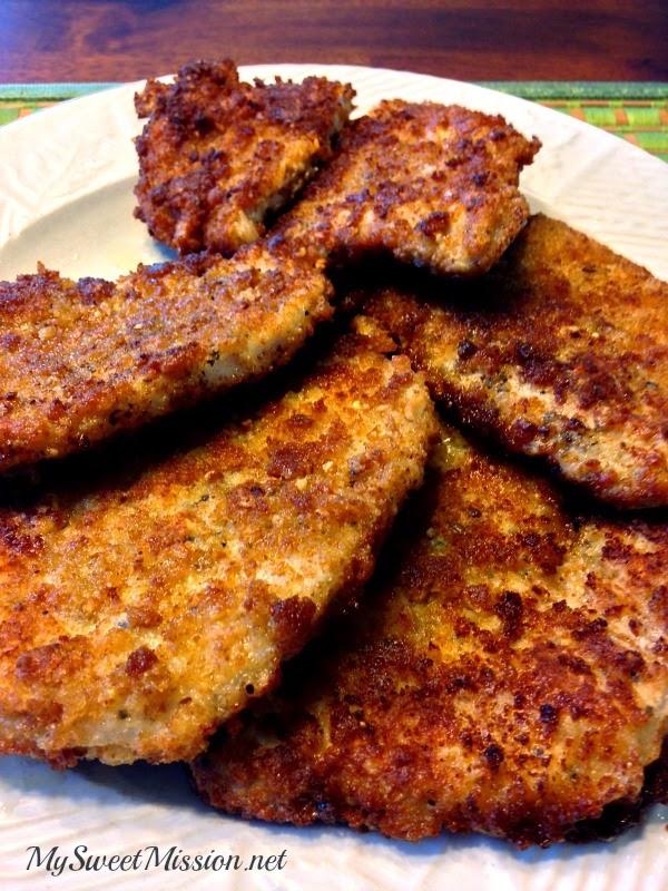 Crispy Pan Fried Pork Chops by MySweetMission.net