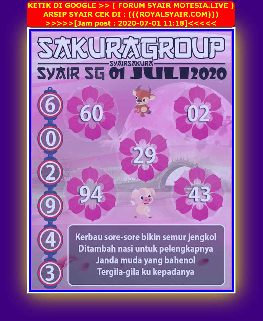 Kode syair Singapore Rabu 1 Juli 2020 157