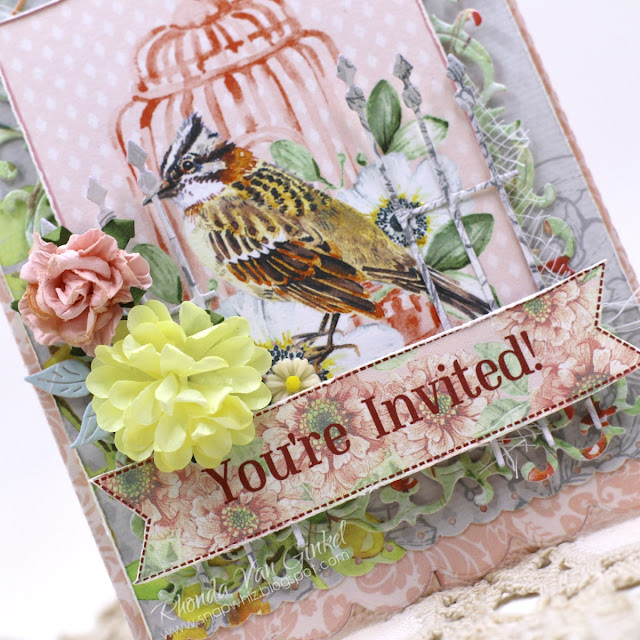 Easel Invitation Card featuring ScrapBerry's The Art of Nature Collection designed by Rhonda Van Ginkel