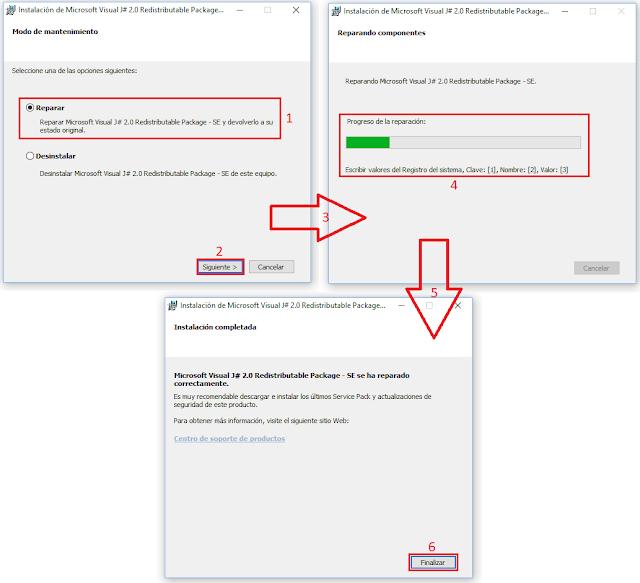 Reparar Microsoft Visual J # 2.0 Redistributable Package - Segunda edición.