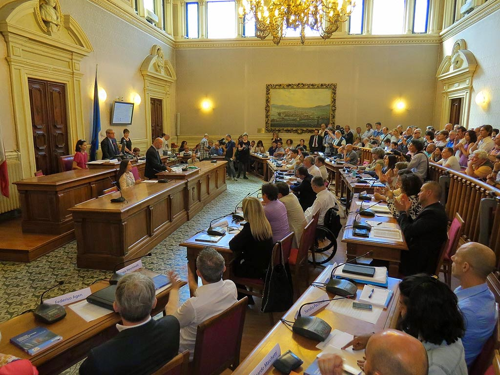 First meeting of the new city council of Livorno