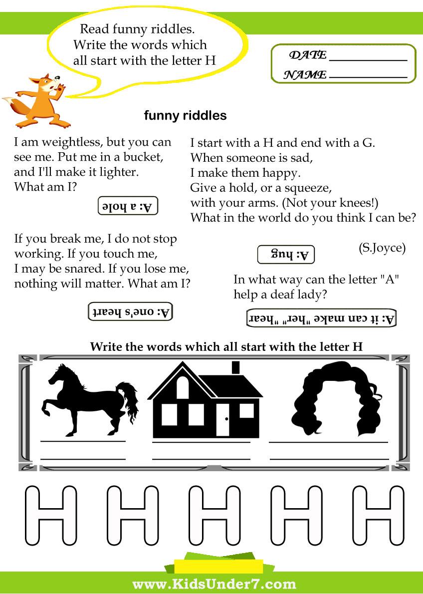 Kids Under 7 Letter H Worksheets