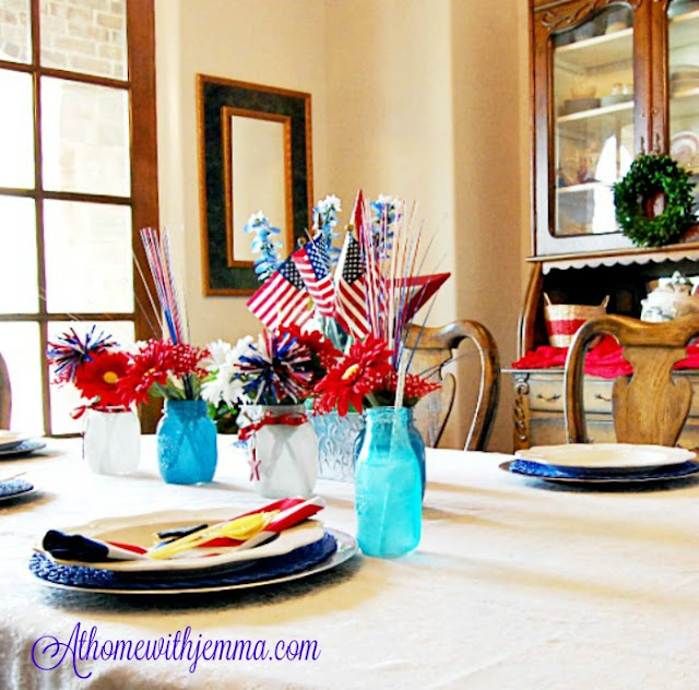 milk bottles, mason jars, galvanized tin, blue place mats, stars, straws