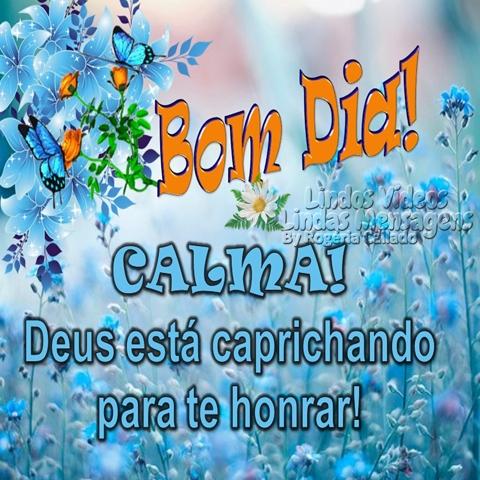 Bom Dia! CALMA! Deus está caprichando para te honrar!