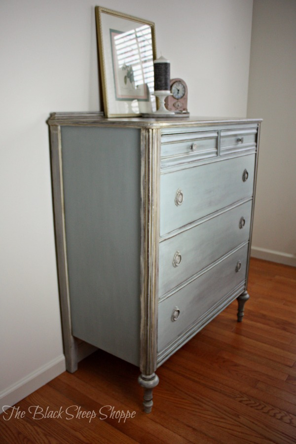 Side view of dresser. The body is painted in a custom mix of chalk paint.
