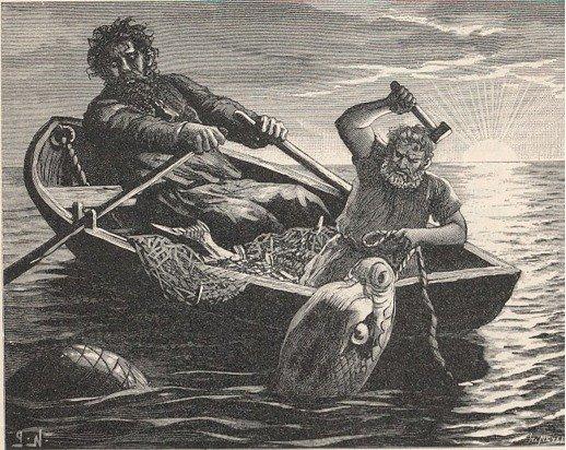 Image of Thor fishing for Jormungand