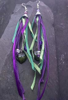 Green Heart Ribbon Tassel Earrings