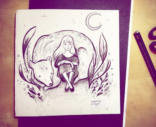 Bear & Moon Live Ink Drawing