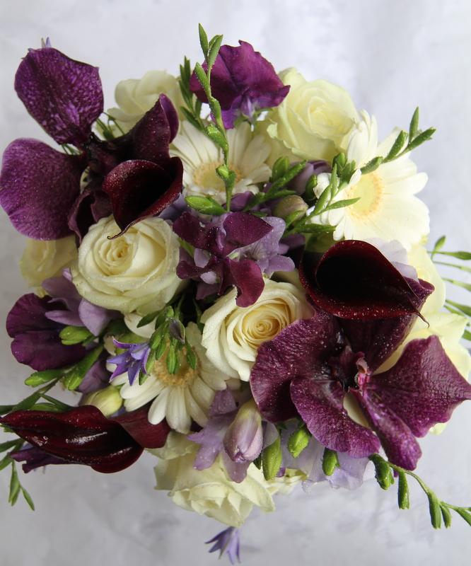 Wedding Flowers Lancashire: The Flower Magician: Purple & Ivory Wedding Bouquet