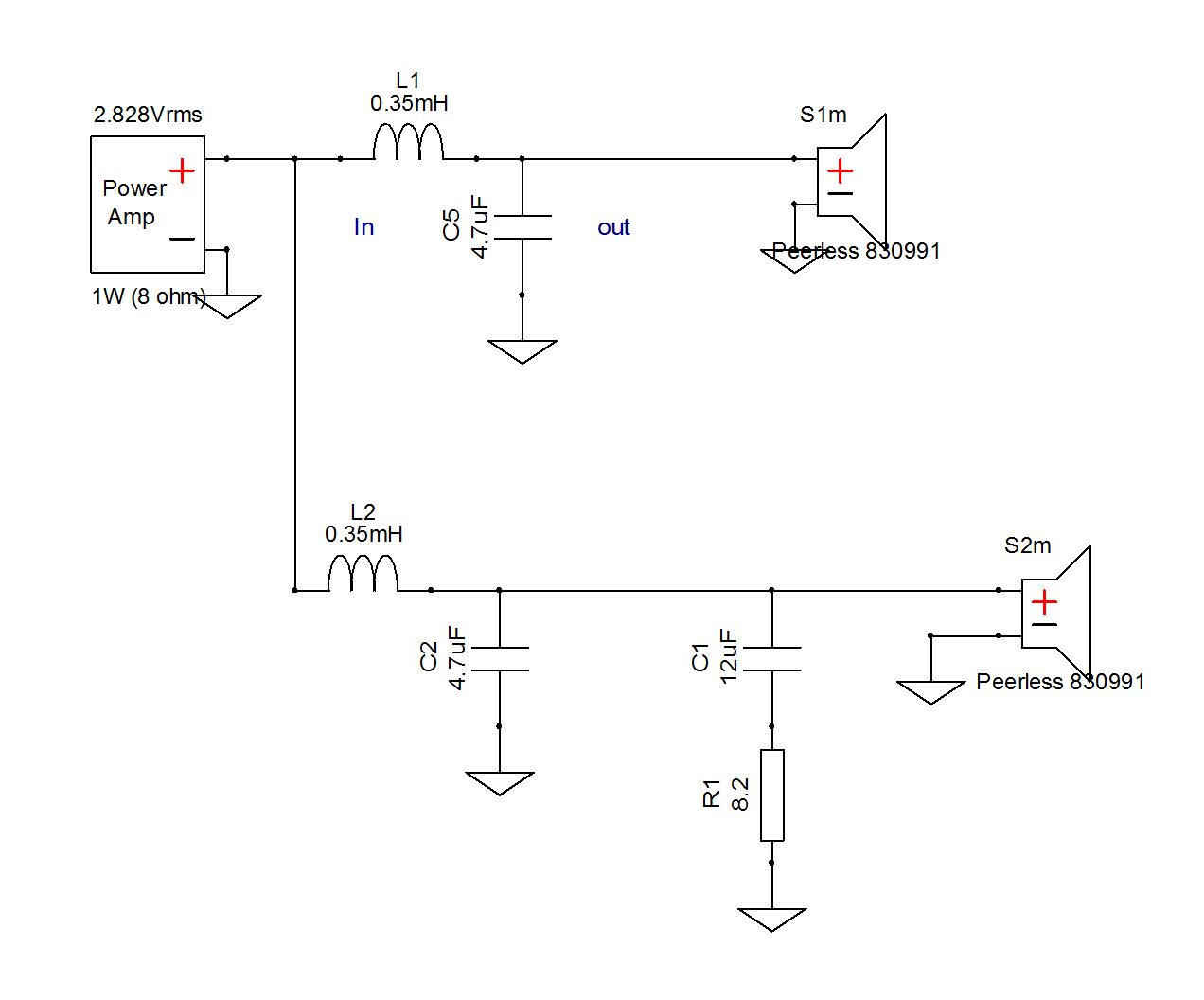 A Speaker Makers Journey Crossover Basics The Zobel Capacitor Fourthorder Lowpass Filter Circuit Diagram For Clarity Well Leave Behind Lm 1 Schematic And Create New One With Two Identical Woofers 2nd Order Low Pass Filters Set To 4 Khz
