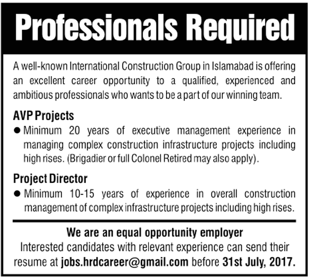 AVP Projects, Projects Manager Jobs in Well known International Construction Group in Islamabad  July 2017