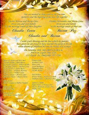 Tarjeta de Invitación para Boda Dorada con Rosas y Lirios