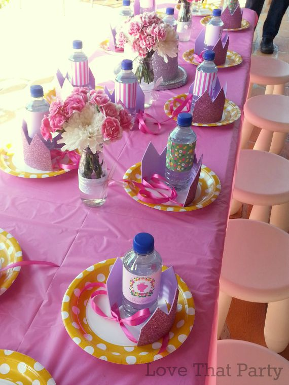Image of pink floral princess birthday party table for kids with party printable stationery