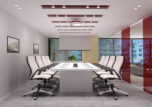 Bàn họp đơn sắc trắng kết họp với bộ ghế cùng tông màu đầy ấn tượng