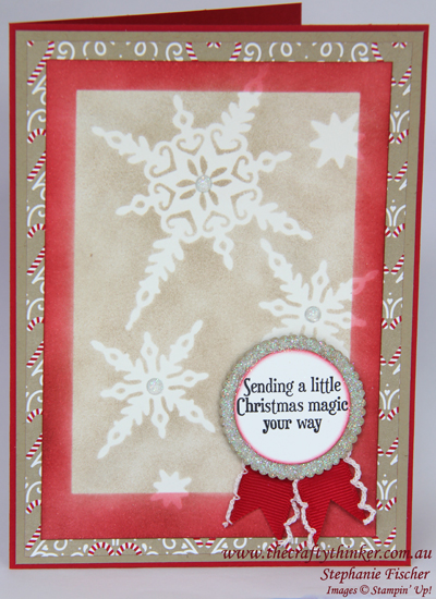 Stampin Up, #thecraftythinker, Xmas card, Christmas Card, Starlight Thinlits, Candy Lane DSP, Masking, Stampin Up Australia Demonstrator