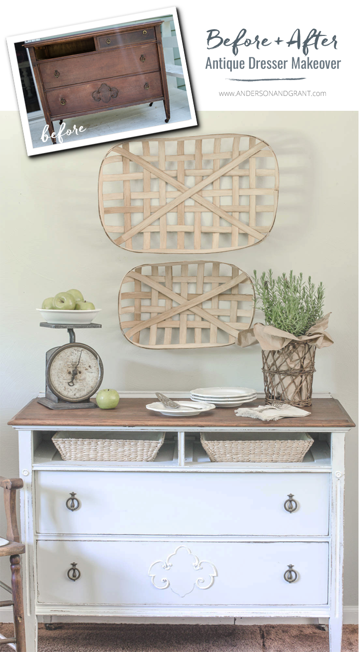 By adding a little paint and storage baskets, an old dresser becomes a perfect piece of furniture to use in the entryway, as a dining room buffet, or bathroom vanity.  |  www.andersonandgrant.com
