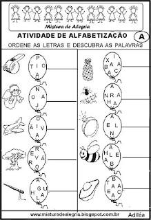 Atividades alfabetização letras misturadas
