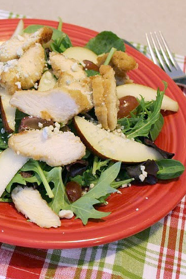 Warm Chicken, Pear, and Blue Cheese Salad with Pear Vinaigrette | Renee's Kitchen Adventures:  Sweet, salty warm and delicious!