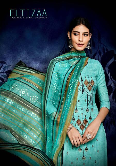 505b612548 Sargam Print Eltizaa Pashmina Suits - Winter Collection
