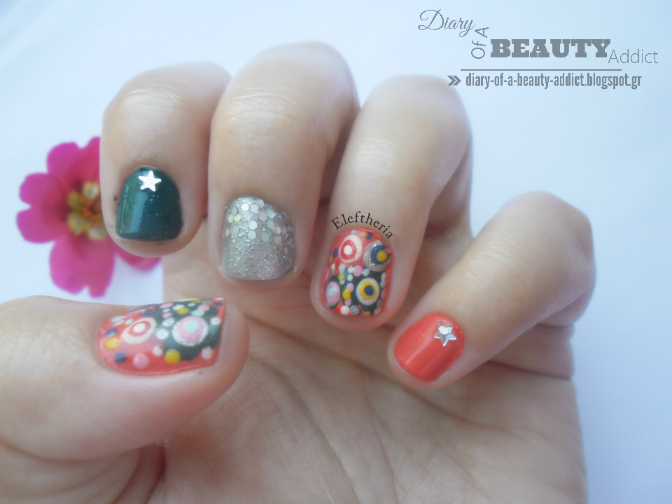 Coral Mix and Match Nails