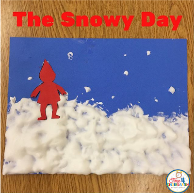 The Snowy Day art project using snow paint. A kindergarten art project.  Create snow paint by mixing glue and shaving cream together until it is thick use more cream than glue.  Than dab the mixture onto the paper making peaks as if you were covering a lemon merengue pie.  Let dry overnight or longer.  Add Peter the next day.#thesnowyday #ezrajackkeats