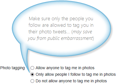 Twitter photo tagging setting