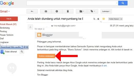Cara Konfirmasi atau Menerima Undangan Menjadi Pengarang/Kontributor/Penulis Tamu Blog di Blog Lain Platform Blogger Blogspot