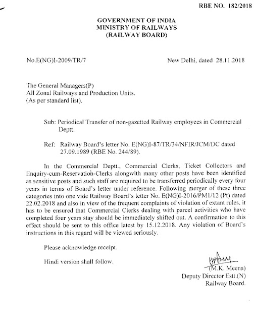 railway-periodical-transfer-on-non-gazetted-railway-employees-in-commercial-deptt-rbe-182-2018