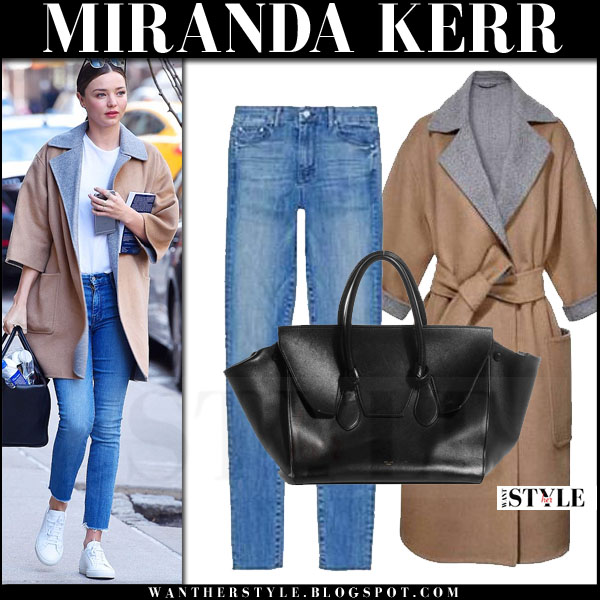 Miranda Kerr in camel and grey oversized max mara coat and skinny jeans what she wore model style