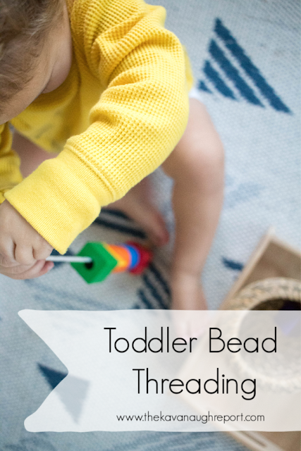 Bead threading for toddlers - some ideas on how to get started and how to support threading as your child gets more coordinated