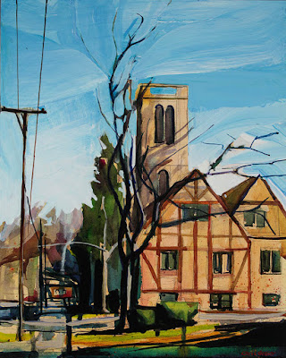 Acrylic painting of Calvary Episcopal Church in Williamsville NY
