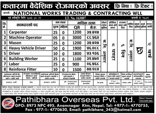 Free Visa, Free Ticket, Jobs For Nepali In Qatar, Salary -Rs.88,000/