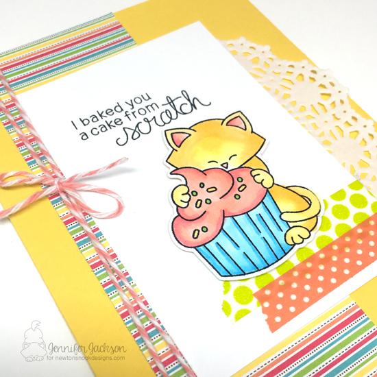 Cat Birthday Cupcake Card by Jennifer Jackson | Newton Loves Cake Stamp set by Newton's Nook Designs #newtonsnook