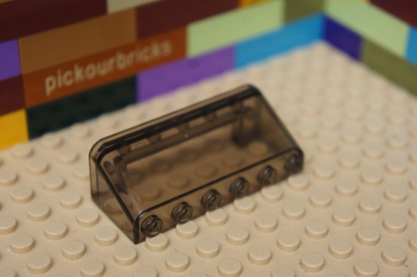 LEGO NEW 3x6x1 Transparent Black Windscreen Curved 2x 6074885 Brick 35298