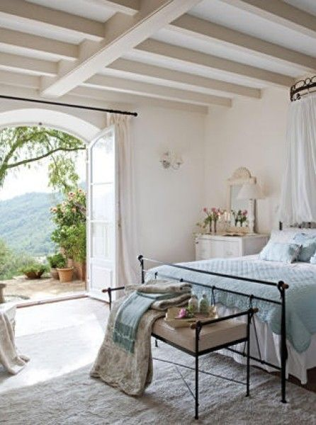 Breathtaking view from #FrenchCountry bedroom French doors #Provence #Frenchfarmhouse