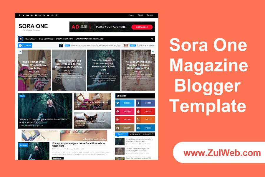 Sora One Magazine Blogger Template