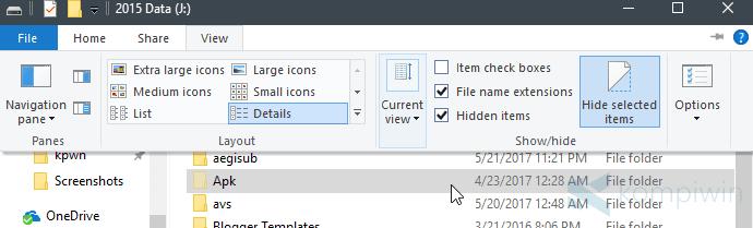 file folder bresembunyi