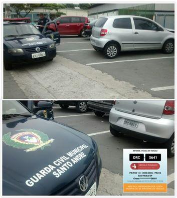 GCMs da 1º Inspetoria de Santo André recuperaram veículo produto de roubo abandonado na favela Sacadura Cabral