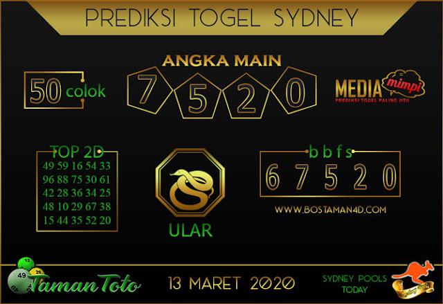 Prediksi Togel SYDNEY TAMAN TOTO 13 MARET 2020