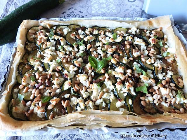 Tarte fine courgette, feta et pignons de pin