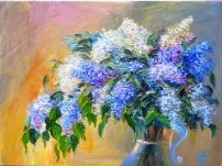 oil painting on canvas Lilacs in the Sunlight