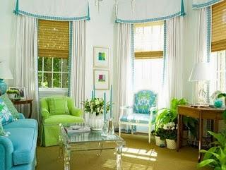 Salón en azul y verde