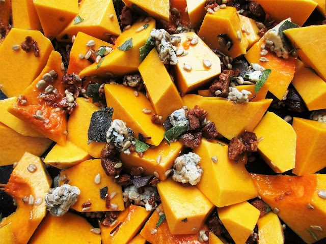 butternut squash, blue cheese, dates, sunflower seeds, vegetarian, autumn, home cooking, comfort food, recipe, food blogger, Limousin, France, roasting, vegetables, Creuse, food blogging, recipes, dinner, lunch, side dish, Guardian Food, bleu de auvergne, sage, thyme, dried fruit, retreats, low cost retreats, affordable retreats, rural retreats, creative, retreat, wellbeing, wellness, healthy,