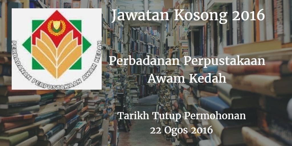 Jawatan Kosong Perbadanan Perpustakaan Awam Kedah 22 Ogos 2016