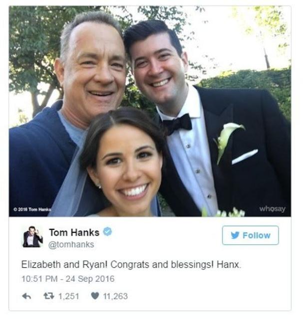 Tom Hanks aparece corriendo y se toma fotos con una pareja