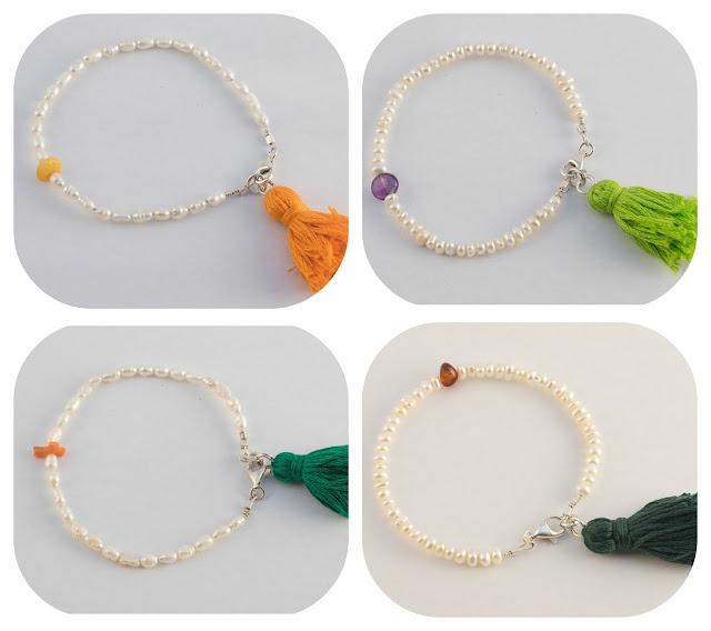 bracciali perle di fiume e pietre dure con nappa boho style